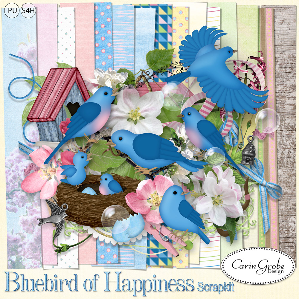 Bluebird of Happiness by Carin Grobe Design
